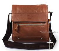 Men's Genuine Natual Cow Leather 100% Vintage Style Shoulder bag Brown_M206