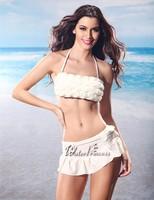 2014 new Fashion women brand sexy 3D Rose Cocked hip Bikinis swimsuit split swimwear