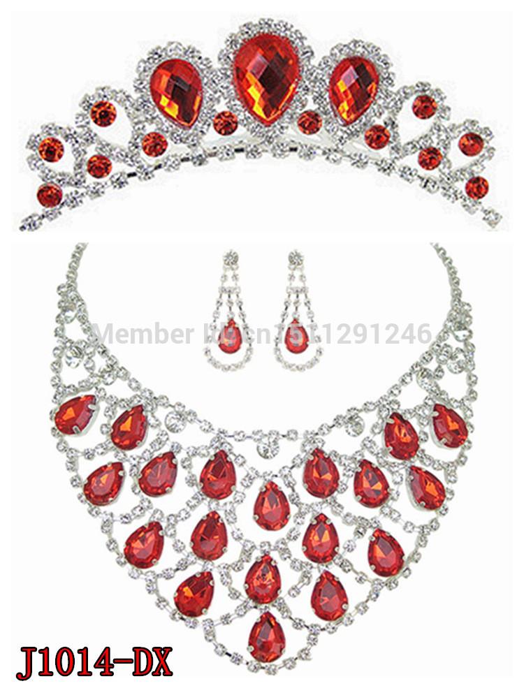 wedding lady jewelley set crystal necklace ( J1014-DX)(China (Mainland))