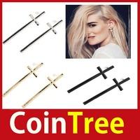cointree New Pair Fashion Women Retro Vintage Style Cute Cross Ear Stud Earrings E035 Worldwide free shipping