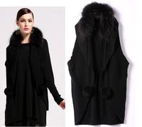 Faux Fur Collar Vest Cardigan Women Sleeveless Knitted Vest  Black Outwear Sweater Women New 2014 Autumn Winter SS14C005