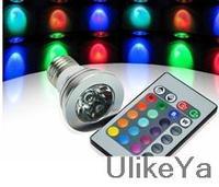 Wholesale 10pcs/lot COB LED Lamp E27 4W 100-245V 220V RGB LED Light Spotlight Bulb Lamp with Remote Controller For Home Bar