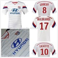 best thai 3A+++ quality 14/15 Lyon home white soccer football jersey Lyon soccer jerseys uniforms embroidery logo