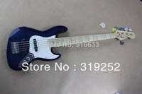 Free Shipping Top Quality 5 String F Jazz Bass Stripe Bright Blue Electric Bass Guitar In Stock