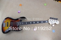 Free Shipping Top Quality 5 String F Jazz Bass Ebony Fretboard F Sunset burst Jazz Bass Guitar In Stock