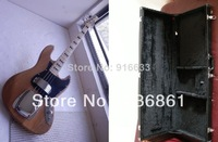 free shipping wholesale High Quality burlywood 4 strings F Jazz Bass Natural Wood Electric bass Guitar with square case