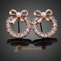 R1B1 Elegant Women White Rhinestone Round Circle Bowknot Ear Studs Earrings