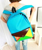 Wholesale Female color block backpacks bag women's fashion backpack school bag lady colorful canvas backpack travel bag