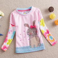 Retail,New 2014 fashion children clothing kids baby girls t shirts cartoon cotton long sleeve kids tops girls t shirts clothing