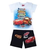 2014 new item boy carton suit car design tshirt+short for summer kids clothing set free shipping