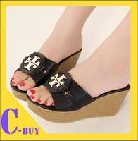 Free shipping 2014 new platform sandals metal logo brand women sandals open toe summer wedge sandals women shoes  big size 40 41