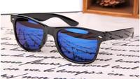 SUNGLASSES AVIATOR WAYFARER BRAND NEW RETRO GEEK MENS LADIES  Black Frame Blue Mirror Lens
