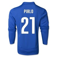 hot sale!! 2014 world cup italy home jerseys long sleeve fan versions emboridered italian #9 balotelli,#21 pirlo,