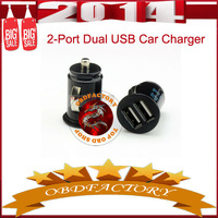 New 2014 2 - Port Dual USB Car Charger for iPhone 4s iPod ipad galaxy all phone 5V - 2.1A Free Shipping