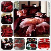 hot sale luxury brand 4pcs bedding set 4pcs 3d  queen ,flower plant  pattern,duvet /quilt cover/bed sheet/comforter/bedspread
