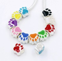 MIC 50pcs  Silver Plated Enamel Double-sided Paw Print Big Hole Loose Beads European Bead Fit Bracelets 10X10mm 10Colors