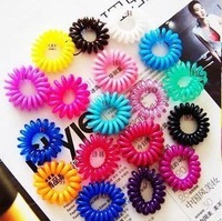 2014 New Fashion Candy Color Telephone Coil Circle Not To Hurt The Hair Rope Rope(Random Hair Color)