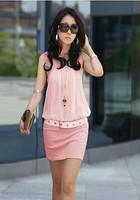 S-XL New 2014 Women Sexy Slim Vest Chiffon Dress Sleeveless Summer Dress Free Shipping