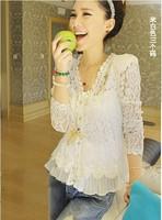 Plus Size S-XXL New 2014 Women's shoulder pads exteravagant patchwork cutout lace shirt cardigan sun protection shirt