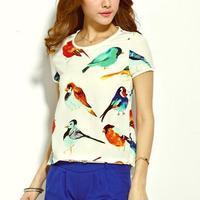 camisas femininas 2015 summer new fashion loose short sleeve birds animal print chiffon blusas ladies blouses women tops C432