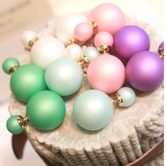 22 colors Hot Selling 2015 women Genuine Brand Double Side matte Pearl Stud Earrings Big wholesale christmas /2 cd bead H01(China (Mainland))