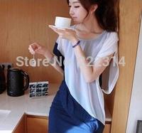 summer new Korean fake two round neck Slim was thin chiffon dress large size 5019