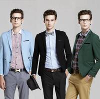2013 new styles British style Satin hit color suit men's leisure suit blazer men suits for men