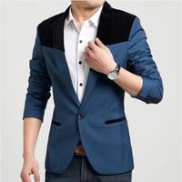 2014 New Men's suits Metrosexual leisure suit pleuche hit color shoulder blazer men
