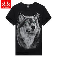 Promotion hottest style punk print wolf t-shirt 3d men's t-shirts brand t shirt men factory price lycra