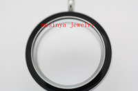 10pcs 30mm stainless steel screw twist black colored glass locket for floating charms