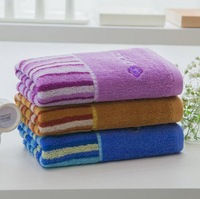 2014 New  High Quality 34cm*76cm All Matching Soft Embroidery Wide Stripe Hand Face Cotton Material Towel Blue/Purple/Brown