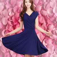 Free shipping hot sale 2014 new style  short-sleeve V-neck bohemia one-piece dress plus size clothing beach dress