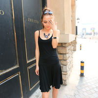 Plus size clothing 200 sleeveless one-piece dress 2014 tank dress black suspender skirt spaghetti strap basic