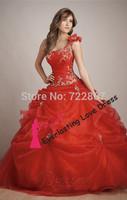 Free shipping! 2014 Ball Gown Floor-length One Shoulder Burgundy Organza Dress Vestidos Quinceanera