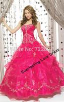 Free shipping! 2014Original Ball Gown Floor-length Strapless Fuchsia Organza Dress Vestidos Quinceanera