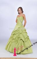 Free shipping!2014 Ball Gown Floor-length Sweetheart Sage Taffeta Dress Vestidos Quinceanera