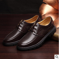 Top Quality 2014 Summer Breatheable Leather Shoes Flats Genuine Leather Loafers Shoes Men's Business Boots Shoes