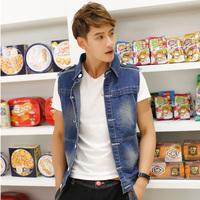 Free shipping! 2014 summer new men's fashion personality Slim denim vest