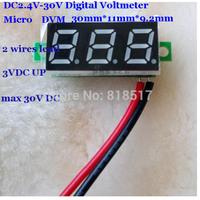 Micro Digital Panel Meter,Two lead wire ,DC 2.40-30 V Digital Readout Blue Green Red Led Voltmeter Display ,DC Digital Voltmeter