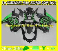 Injection mold Fairing kit for KAWASAKI Ninja 250R ZX250R ZX250 08 09 10 11 12 EX250 2008 2012 green flames Fairings set KC40