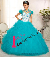 New Fashion 2014 Sweetheart Heavy Beading gorgeous Capri colored ruffled Tulle With Jacket Quinceanera Dress Party Elegant Dress
