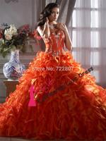 Orange Ruffled Organza Strapless Sweetheart Sleeveless Ball Gown Floor-Length Quinceanera Dresses vestido longo Sexy 16 Dress