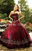 Free shipping!2014Pretty Ball Gown Floor-length Strapless Burgundy Taffeta Dress Vestidos Quinceanera