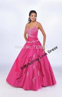 Free shipping!2014 Beautiful Ball Gown Floor-length Spaghetti Straps Pink Taffeta Dress Vestidos Quinceanera