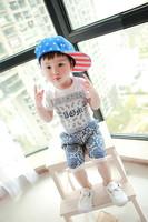 Summer male female child set baby short-sleeve baby shorts sports casual set cotton children's clothing