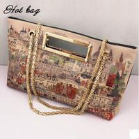 New 2014 Women Leather Messenger Bags Graffiti Handbag Lady Bag Fashion Wild Handbags Printing Chain One Shoulder Bag FA6202