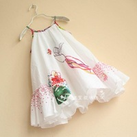 Europe and the United catimini hummingbird flower girls ink title character A high count washed cotton harness dress embroidery