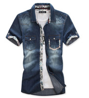 New 2014  Fashion  Casual jeans shirt men  Short  Sleeve  Big Size  Camiseta  shirts  LM502   S M L XL XXL XXXL 4XL 5XL