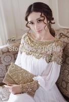 Royal vintage fashion slit neckline luxurious beading warfactory diamond long-sleeve fairy patchwork full dress