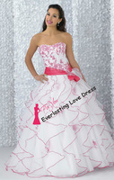 Free shipping! 2014 Empire Ball Gown Floor-length Strapless Multi Colours Organza Dress Vestidos Quinceanera